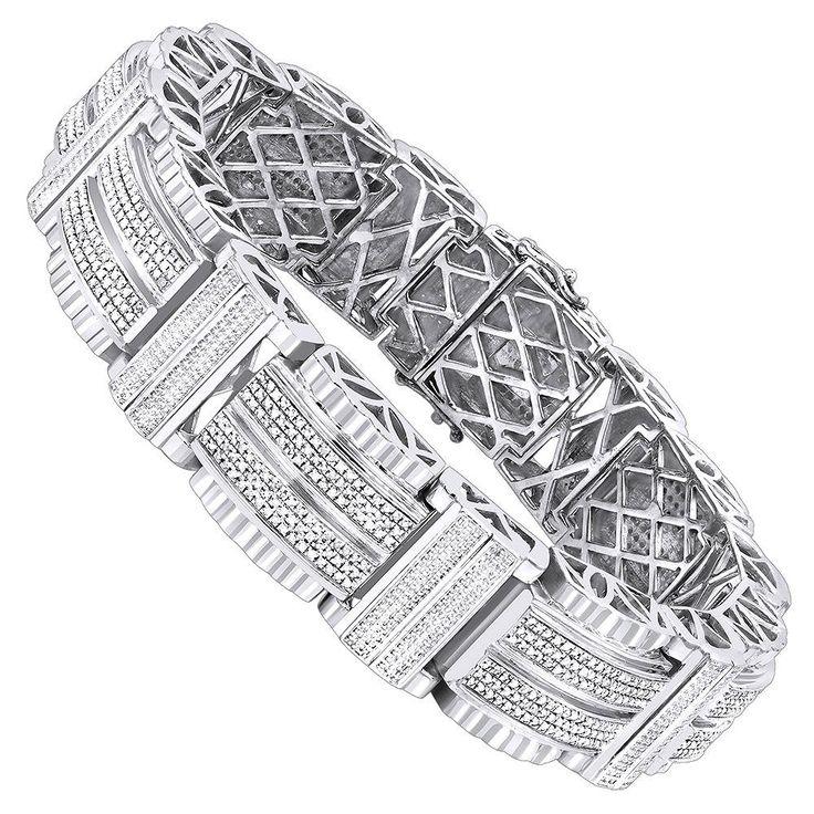 Luxurman Hip Hop Jewelry: Men's Diamond Bracelet 3.25ct Silver