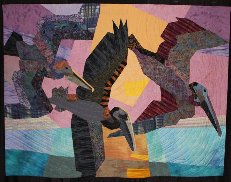 """Brown Pelicans"" by Janine Ward quilt"