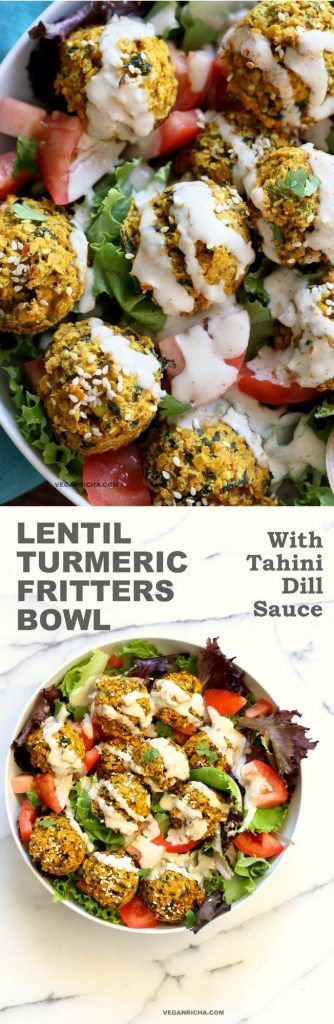 Turmeric Lentil Fritters Tomato Greens Bowl with Tahini Dill Sauce #healthy #recipe