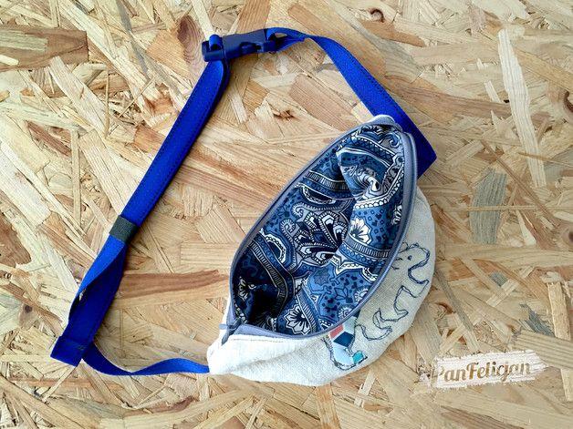 nerka saszetka z NIEDŹWIEDZIEM - PanFelicjan,  polish embroidery, belt bag