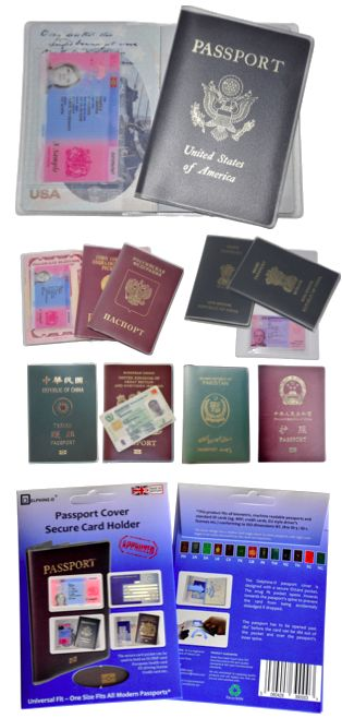 Universal Fit Passport Cover with BRP EHIC or NICOP card pocket for Chinese, Indian, US, Russian, SA, British passports