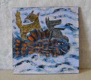 DIE-REISE-MIT-DEM-FISCH-Nr-7-von-Herbivore11-Wolf-Katze-Fische-Unikat-Inchie