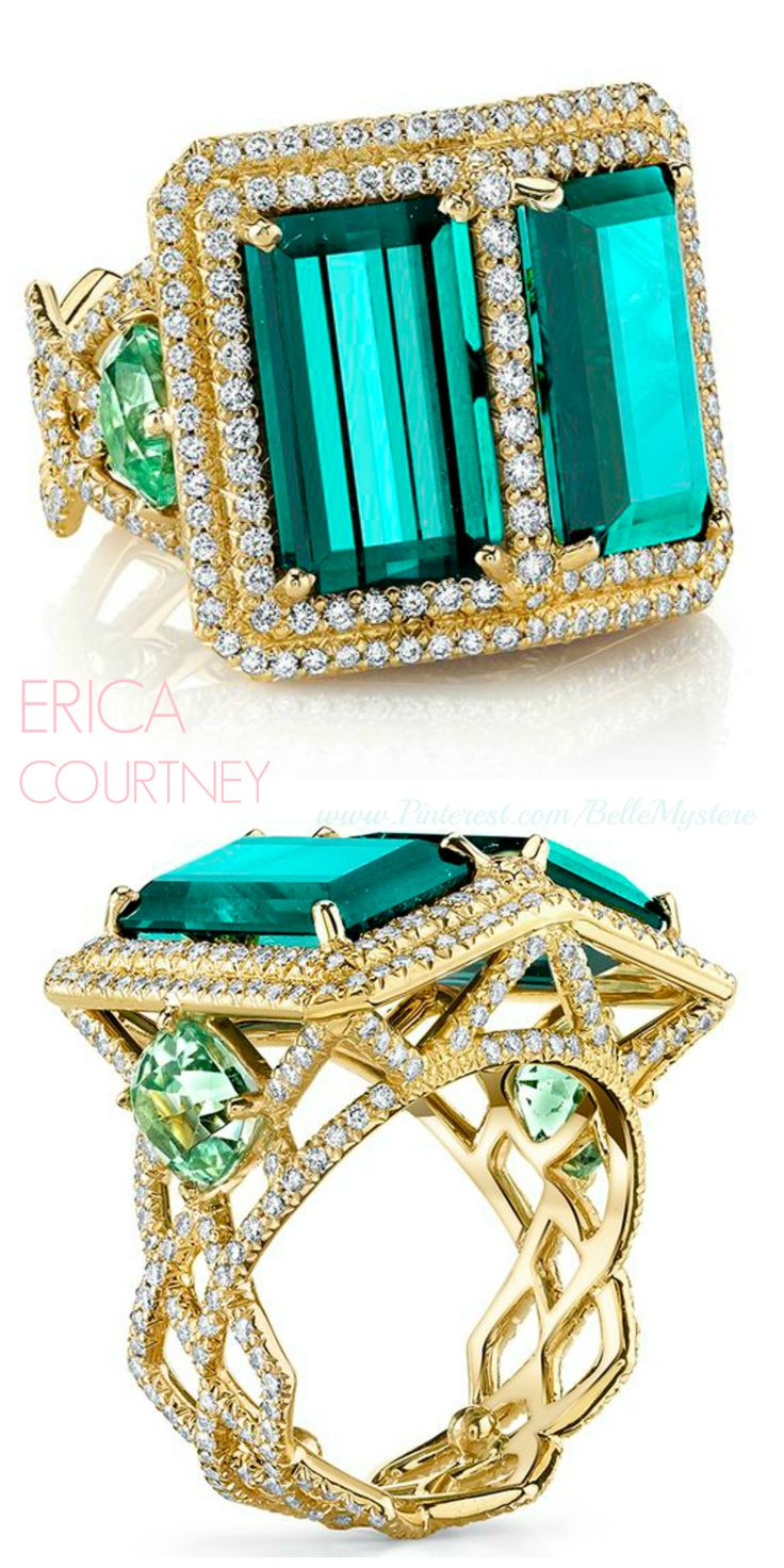 Erica courtney 18k yellow gold ring tourmalines mint tourmalines and diamonds