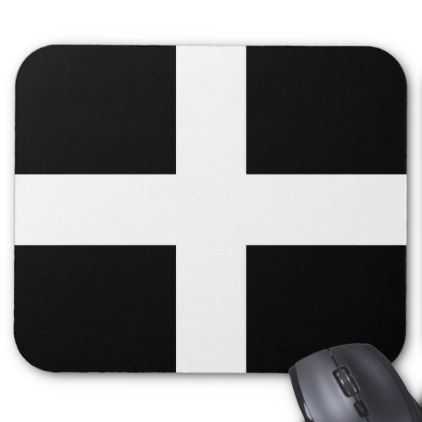 St. Pirans flag / flag of Cornwall Mouse Pad - black and white gifts unique special b&w style