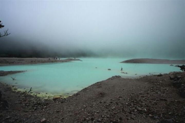 "foggy morning, at ""kawah putih"", a crater in ciwidey, west java"