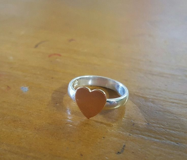 Ring -FLAT HEART- Sterling Silver, 9ct Gold