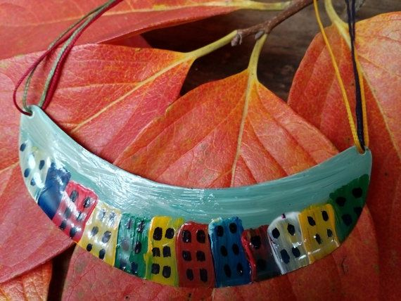 Handmade necklace  Painted Τown necklace Handpaint by AnKaArts