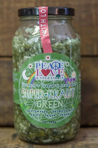There's never been a better (or healthier!) way to enjoy your greens than with our Green Superkraut! Made with a traditional cabbage base the green kraut is also brimming with kale, which is high in iron, calcium and antioxidants, and Australian spirulina, which is a powerful source of protein and B vitamins, in particularly B 12.