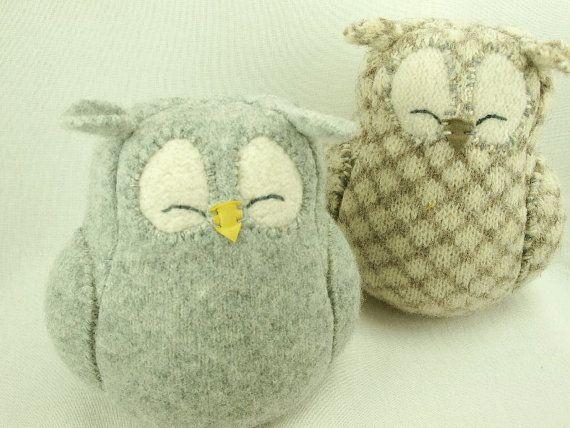 Light  Grey Sleepy Owl  Felted Wool Lamb Wool by ForMyDarling, $29.00