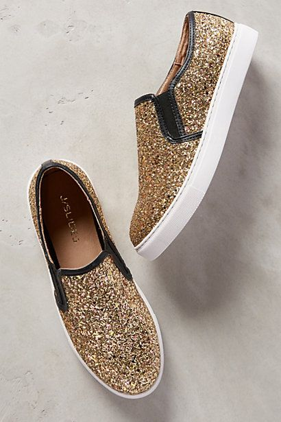 J Slides Glitzern Sneakers - anthropologie.com #anthrofave
