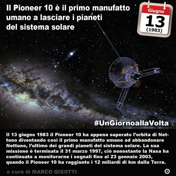 13 giugno 1983: il Pioneer 10 diventa il primo manufatto umano ad abbandonare il sistema solare  Immaginate lo spazio come unultima frontiera. Quando è che luomo ha abbandonato il suo pianeta natale? Quanto lontano è riuscito a lanciare il suo messaggio nella bottiglia? Jared Diamond il biologo autore di Armi acciaio e malattie immagina per esempio che il nostro pianeta sia una sorta di isola nelluniverso fragile e molto lontana da qualunque altra forma di vita. Figuriamoci di civiltà. Così…