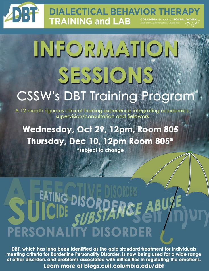 CSSW is the only social work school to offer a 12-month-long rigorous training experience in Dialectical Behavior Therapy, or DBT.