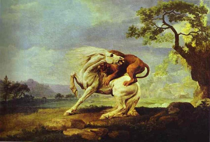George Stubbs Horse Attacked by a Lion Painting Animal