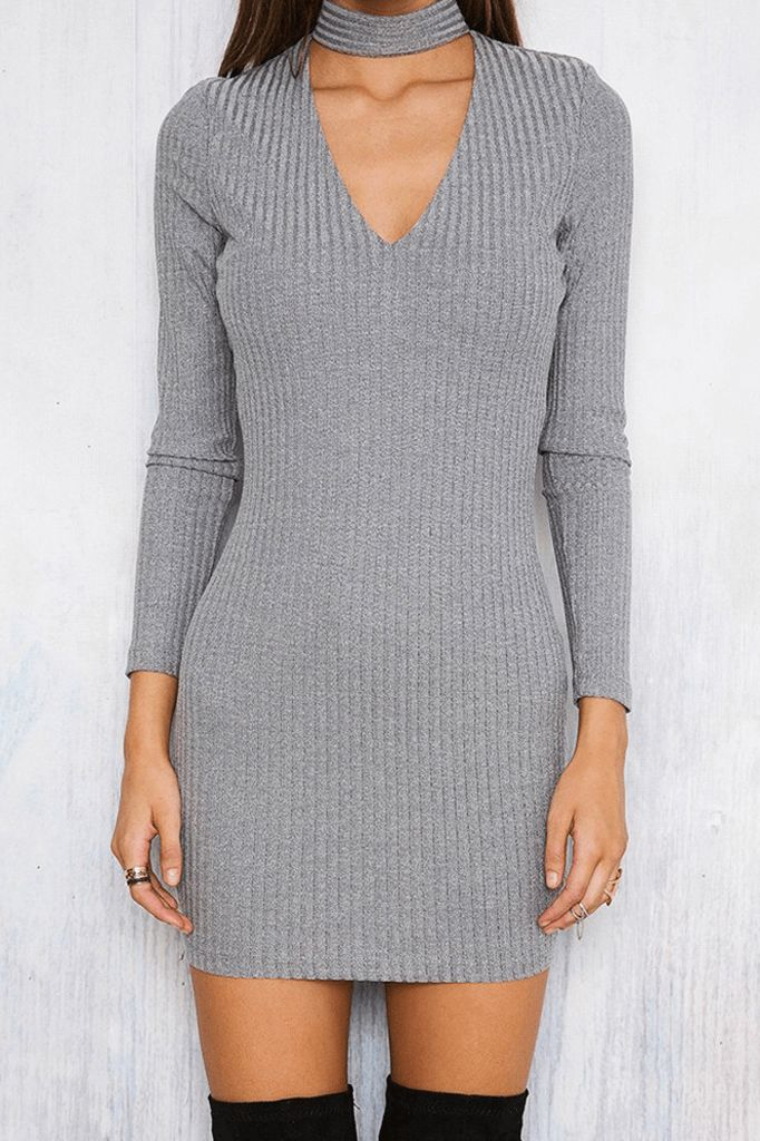 Choker Knitted Dress
