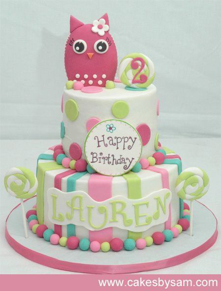 owl birthday cake--- change colors and make one layer