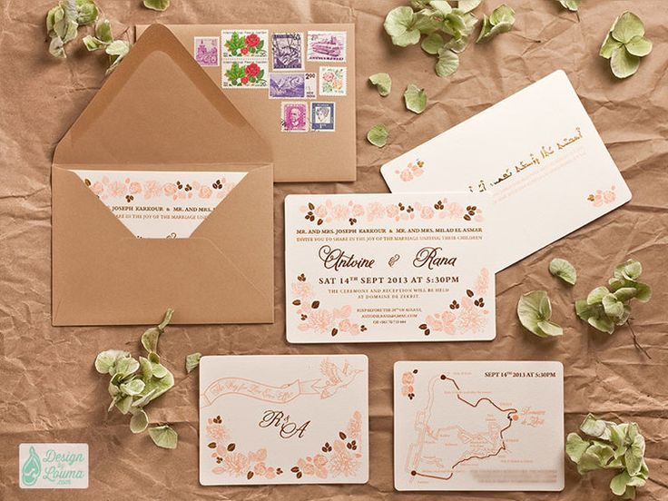 47 best custom wedding invitation sets images on pinterest wedding summer garden wedding invitation with gold peach detail printed on ivory cotton based paper stopboris Image collections