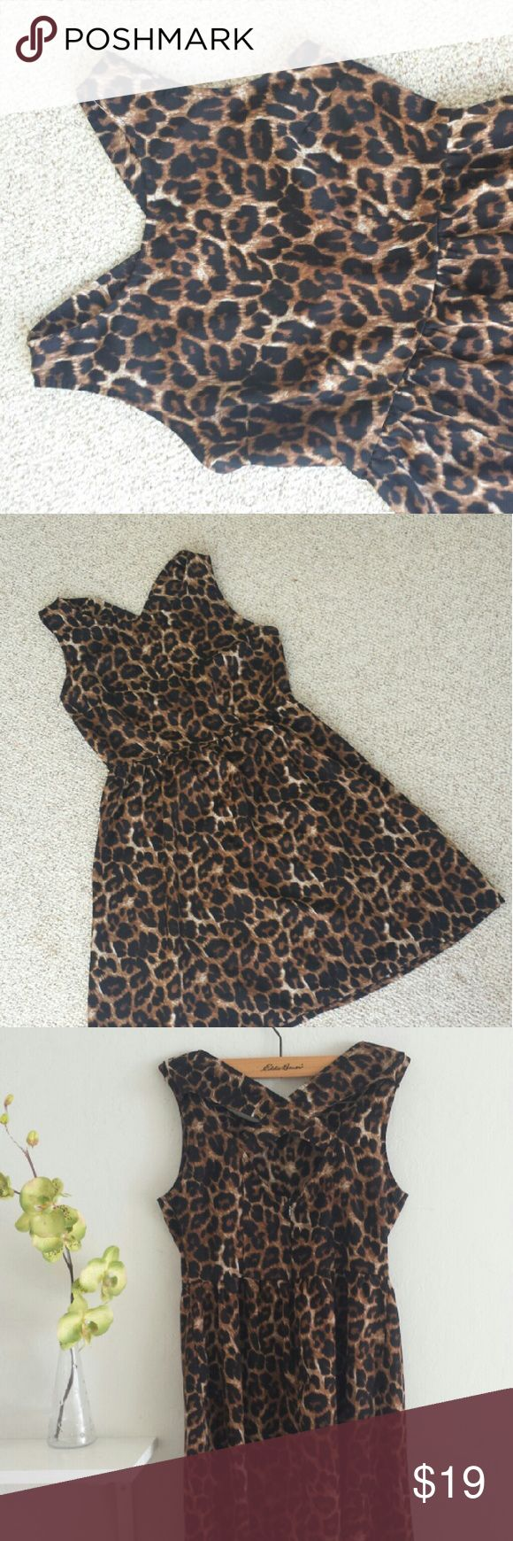 "$Flash$F21 Animal print cross back mini dress Forever 21 Animal print cross back mini dress. In excellent condition. Zipper closure on side, Crosse back for feminine look. 32 1/2"" in length. 16 1/2"" bust, 13 1/2"" waist no elastic band. Size S Forever 21 Dresses Mini"