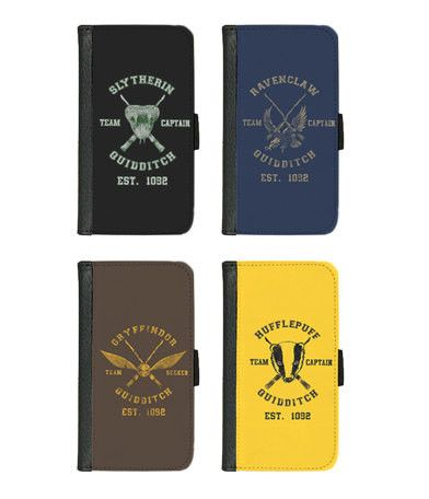iPhone and Galaxy leather wallet case - Harry Potter House Quidditch Team - Gryffindor, Hufflepuff, Ravenclaw, Slytherin