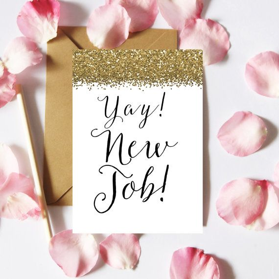 Yay New Job Card Printable New Job Card by FeelGoodGiftShop                                                                                                                                                                                 More