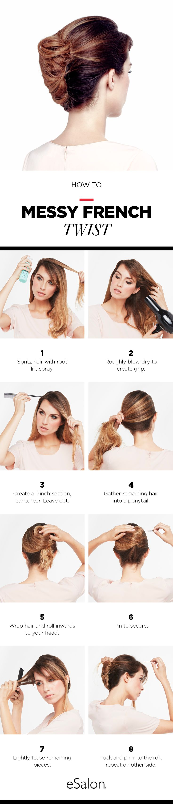 Hair How To: Messy French Twist Follow this tutorial for a beautiful chic style. This easy guide will make this twist one of your favorite go to looks.
