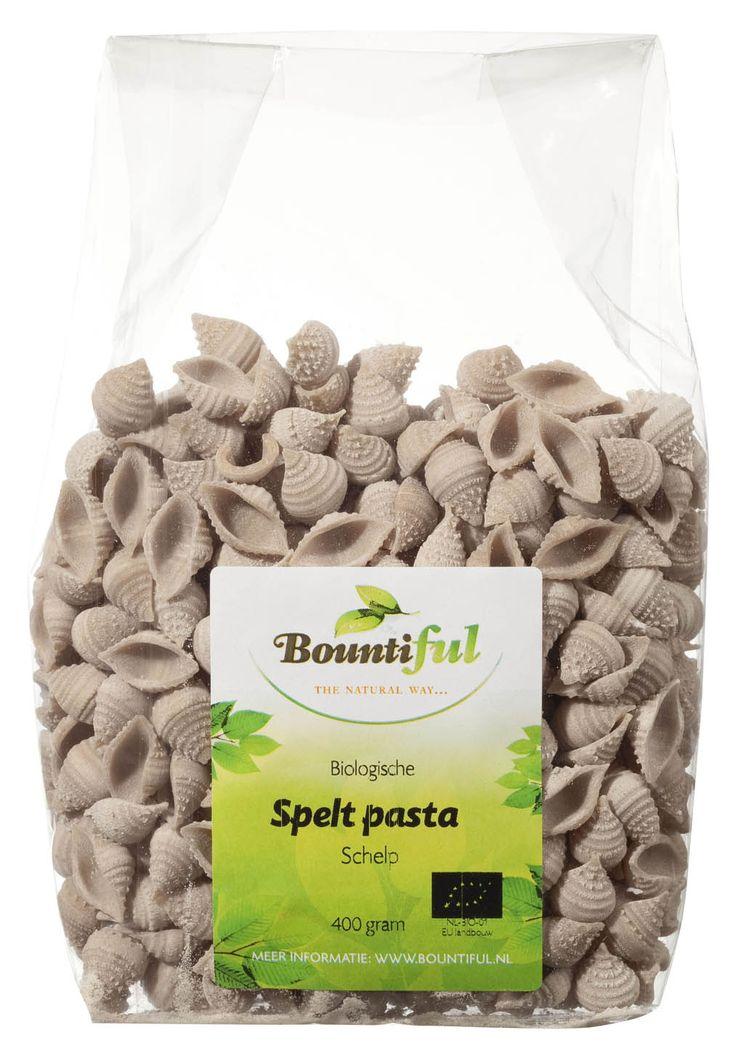Spelt Pasta Bio. Ambachtelijke gemaakt van spelt. Bountiful Speltpasta schelp is vezelrijk. Kook pasta niet af met olie in het water. Spoel pasta niet af onder de kraan. Houd de saus voldoende vloeibaar. De pasta neemt een deel van het vocht op. Niet iedere saus past willekeurig bij elke pasta. Tomatensauzen passen over het algemeen beter bij gedroogde pasta's en roomsauzen bij verse pasta's.