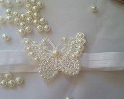 tiara de elastico com aplique
