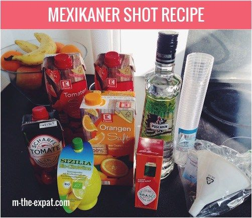Mexikaner Shot Recipe - Similar to a Bloody Mary, but as a shot. They will be a hit at your next party!