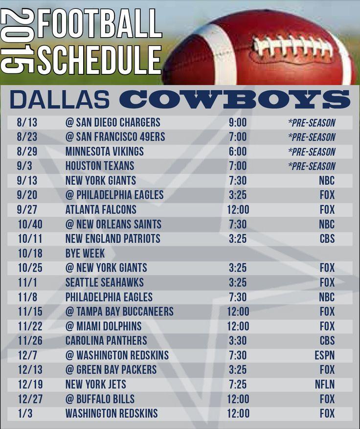 2015 Dallas Cowboys Schedule