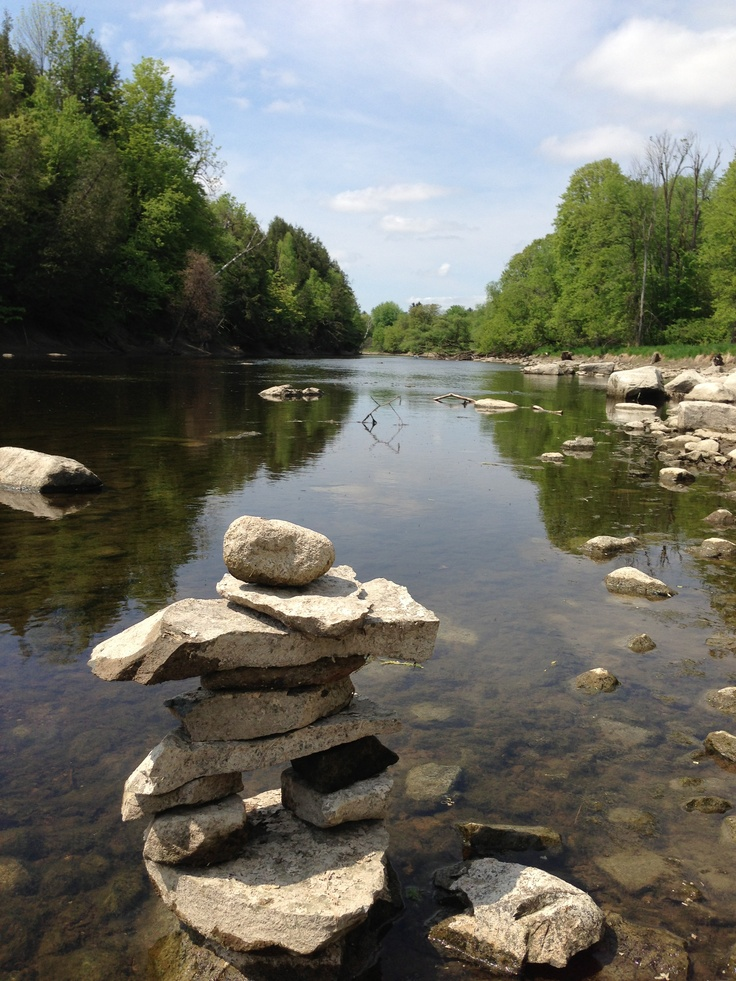 "WINNER! By Van, ""The first pic is an Inukshuk we made together along the river in Hearts Desire."""