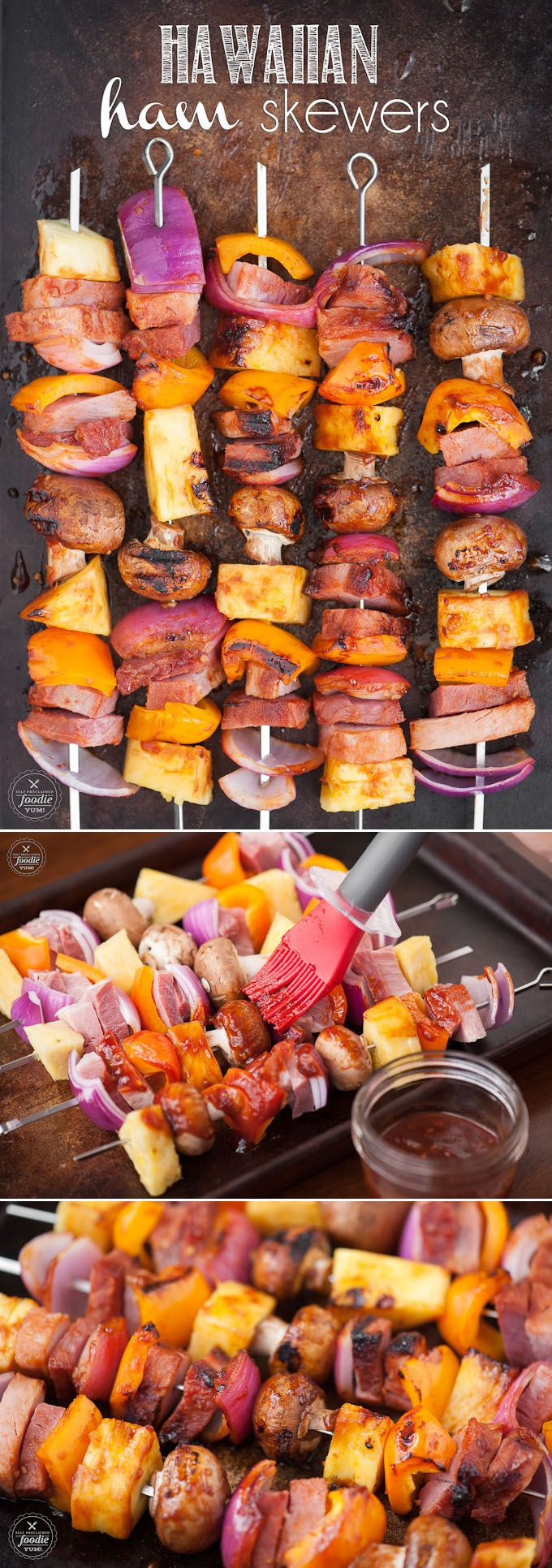 Hawaiian Ham Skewers, made with a pineapple grilling sauce, ham steak, and fresh…