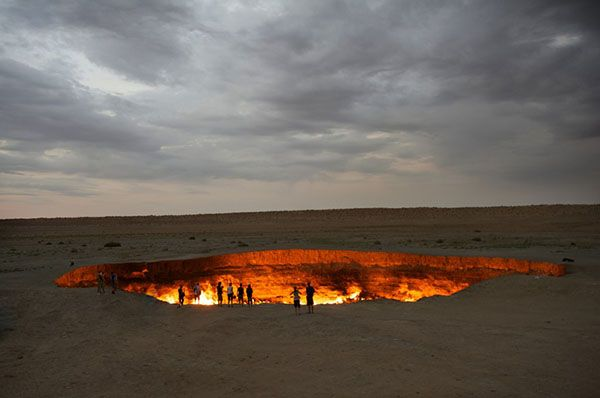 World's Biggest Hole Darvaza Gas Crater in Turkmenistan is the World's biggest Hole with a diameter of 70 metres (230 ft). #BiggestHole