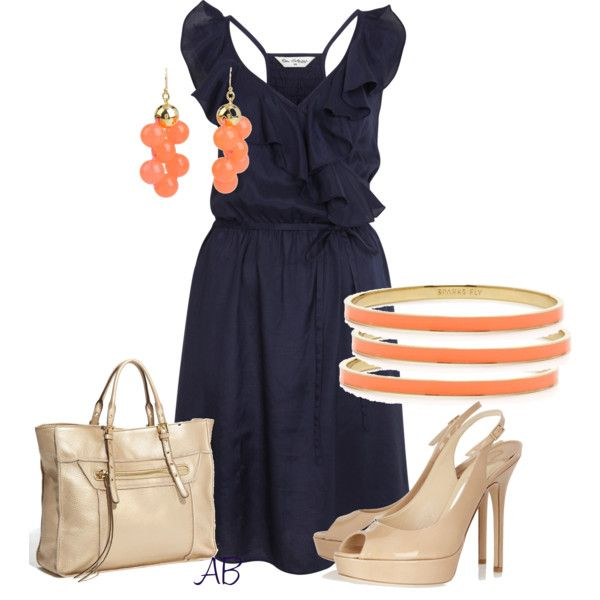 Outfit: Summer Fashion, Polyvore Summer, Colors Combos, Navy Dresses, Navy Coral, Cute Summer Outfits, The Dresses, Style Clothing, Summer Clothing