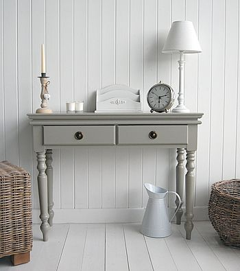 Grey console table. Love, I wanna paint my antique table this color