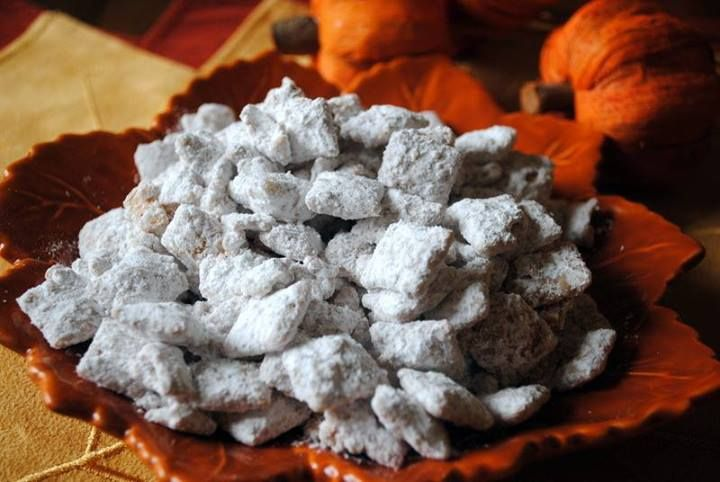 Pumpkin Spice Puppy Chow Ingredients 1 box (13.5 oz) Cinnamon Chex® Cereal 1½ cups white chocolate chips 1 cup dried unsweetened cranberries 1 cup roasted and salted pumpkin seeds 2 teaspoon pumpkin pie spice ½ cup powdered sugar, divided Instructions In a large bowl combine Cinnamon Chex Cereal, cranberries and pumpkin seeds. Set aside. In a double broiler or microvave carefully melt the white choocolate. Add the pumpkin pie spice