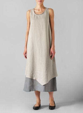 Linen Gray Double Layered Long Dress