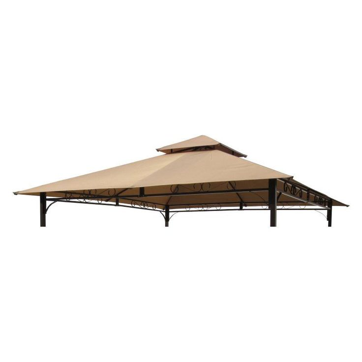 International Caravan Mesa 10 ft. 2-Tiered Vented Outdoor Gazebo Canopy Replacement Top Khaki