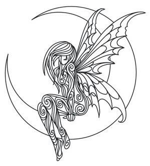 Outline of Fairy on Moon