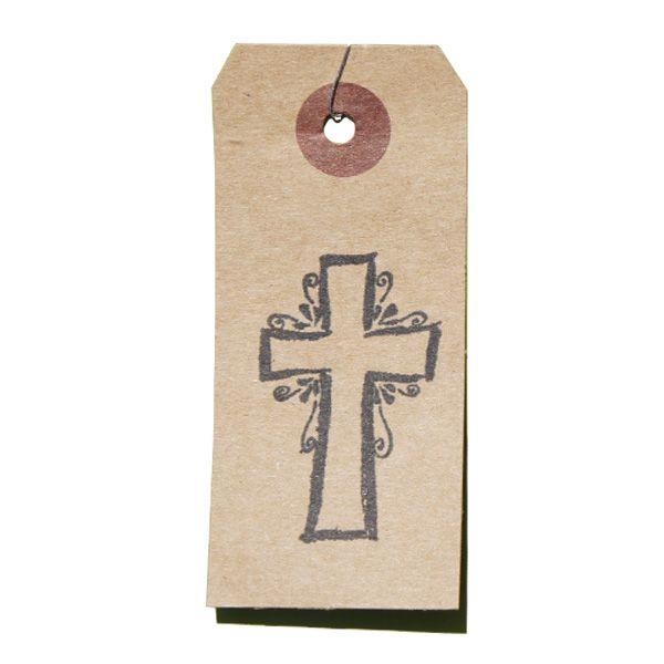 Tampon en bois croix de baptême et de communion sur étiquette kraft