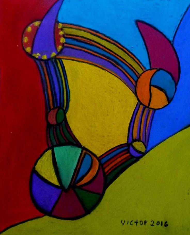 Abstrakt 489, pastell. Abstract 489, pastel.