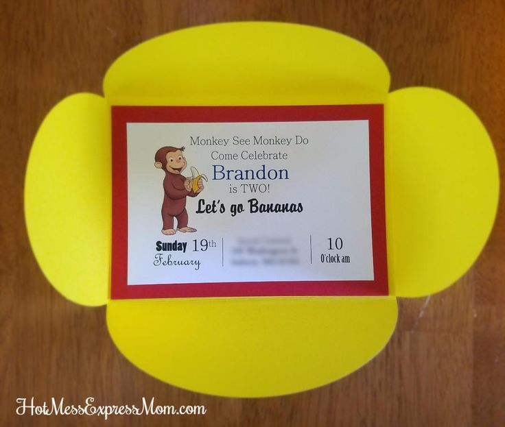 DIY Curious George Birthday Party Invitations