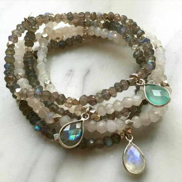 Lovely shimmering stacked bracelets to dress up a simple outfit