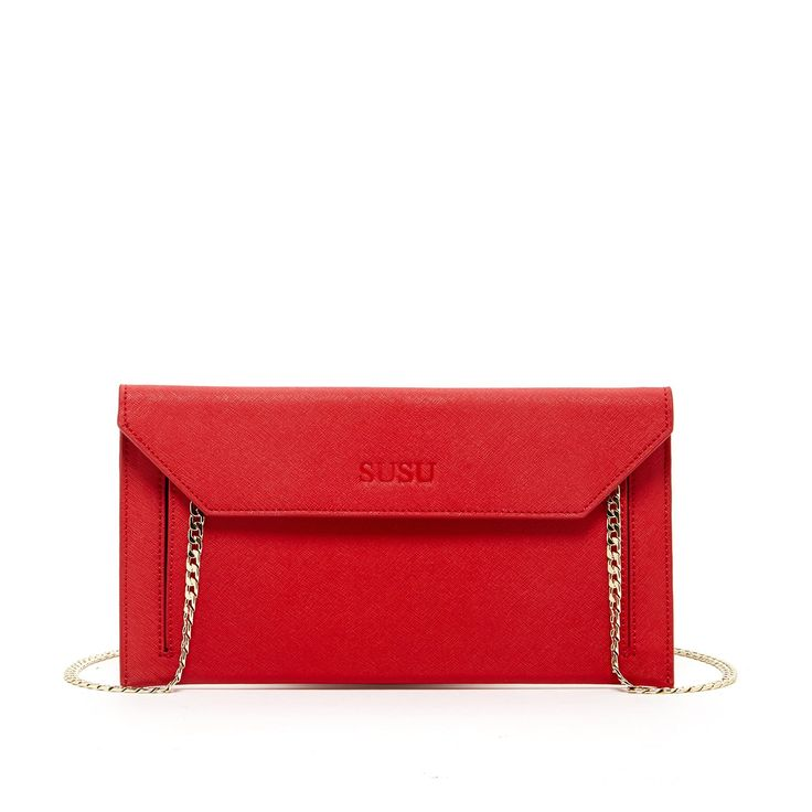 "SUSU Clutch Purse Red Clutch Bag Wedding Clutch Evening Bags Envelope Clutch Handbags Saffiano Leather Purse With Long Chain Bags Designer Bridal Purses Women Purse. *Width: 11"" *Height: 6"" *Depth: 0.5"" *Strap Drop: 21"". Saffiano Leather. Imported. Fabric Lining. Dress to impress with the Bond envelope clutch. Made from high-quality Saffiano leather, In addition to the main compartsure keeps tment, the design includes a slip pocket at the front. A magnetic clohe bag securely fastened to…"