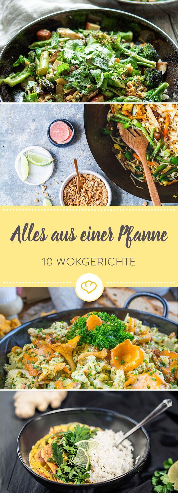 Heiß, würzig, farbenfroh - so geht's heute in deinem Wok zu. Mit Hähnchen oder auch vegetarisch - wir haben 10 Rezepte für deine Wok-Küche.