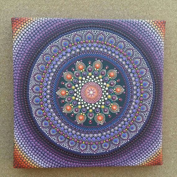 Purple mandala on wrapped canvas vibrant and relaxing colors.