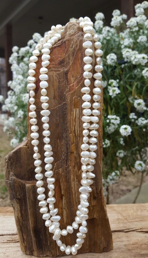 """18"""" White Fresh Water Pearls Necklace, 2-Strand Knotted Pearl Necklace with 14K Gold Pearl Clasp by KarensKarats on Etsy"""