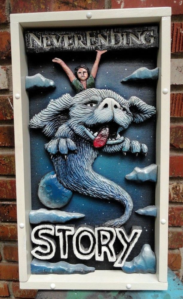 The Never-ending story > wood poster > cult movie > sculpture > fantasy movie