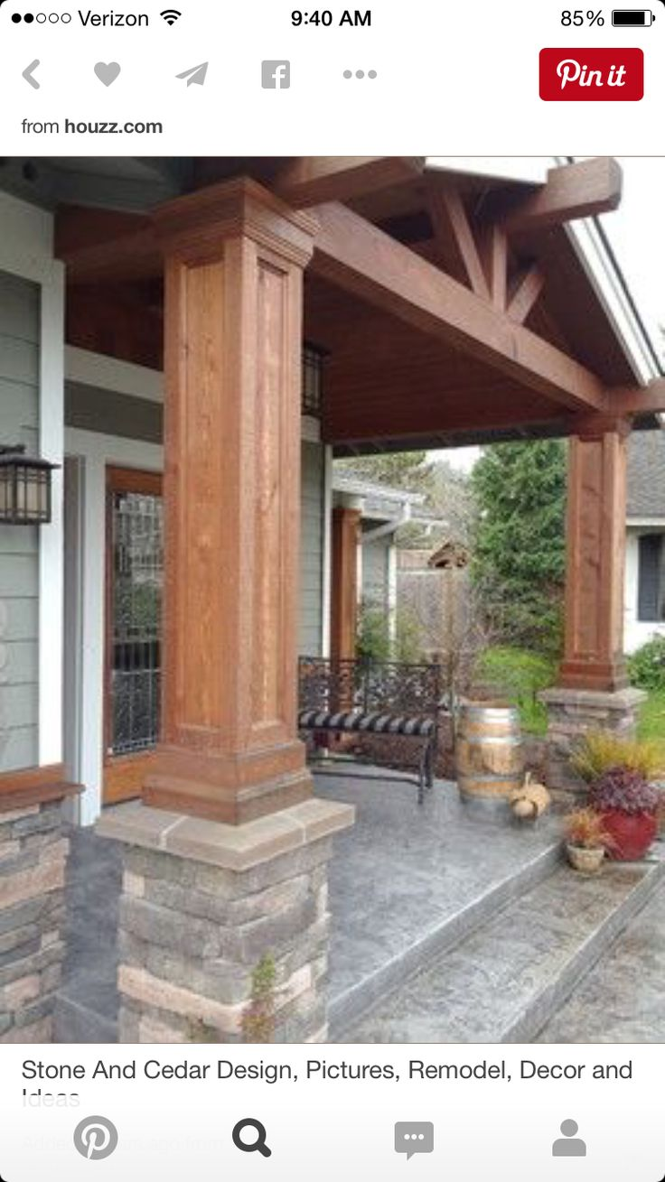 25 best ideas about front porch pillars on pinterest for Garage column wrap