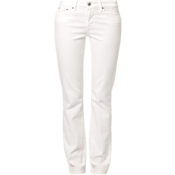 Levi's® CLASSIC DEMI CURVE STRAIGHT Straight leg jeans ($105) ❤ liked on Polyvore featuring jeans, pants, bottoms, pantalones, white, women's trousers, white straight leg jeans, levi's straight leg jeans, white jeans and straight-leg jeans