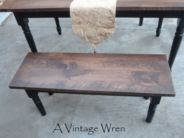 Eastern White Pine Top Stained Walnut With Black Turned Legs. Custom Made  Benches By A