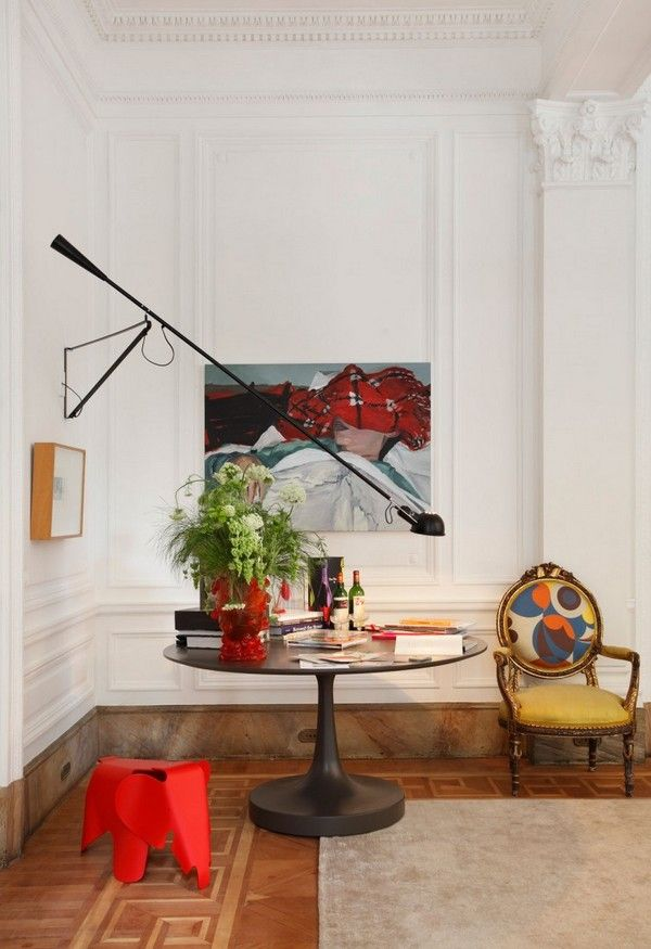 Living Room, Stunning Oval Desk With Intriguing Wall Lamp Stunning Classic Chair Amusing Red Stool Wonderful Mounted Paintings For Marvelous...